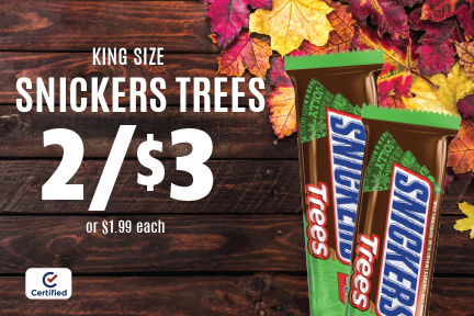 King Size Snickers Trees - 2 for $3 (or $1.99 each)