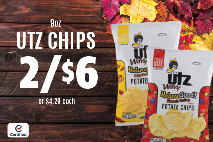 9oz Utz Chips - 2 for $6 (or $4.29 each)