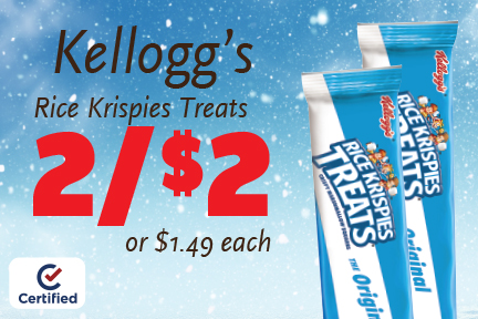 Rice Krispies Treats 2 for $2 or $1.49 each