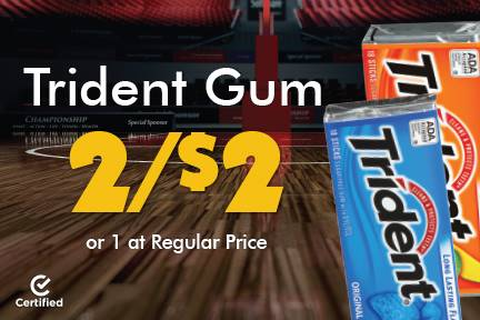 Trident Gum 2 for $2 or 1 at Reg Price