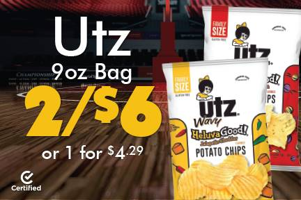 Utz 9oz Bag 2 for $6 or 1 for $4.29
