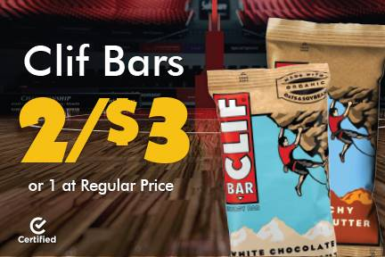 Clif bars 2 for $3 or 1 at Reg Price