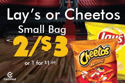 Lay's or Cheetos Sm Bags 2 for $3 or 1 for $1.69