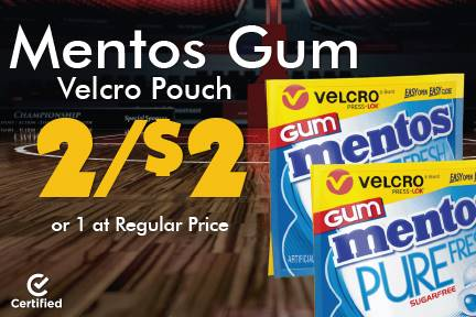 Mentos Gum Velcro Pouch 2 for $2 or 1 at Reg Price