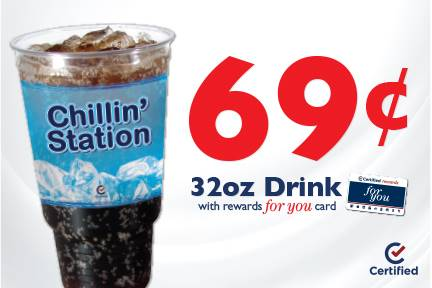 $.69 32oz Drink with Rewards for you Card
