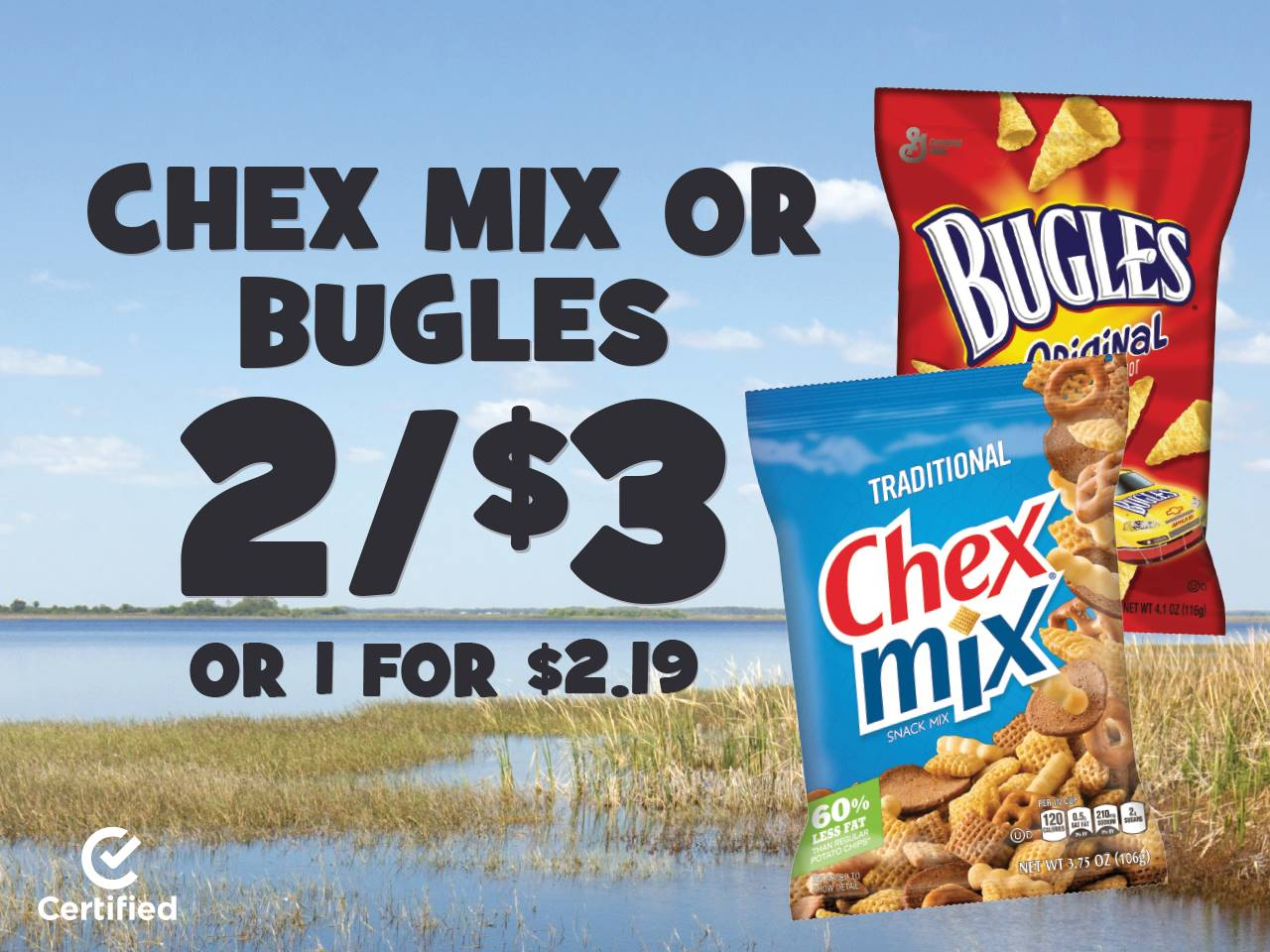 Chex Mix or Bugles 2 for $3