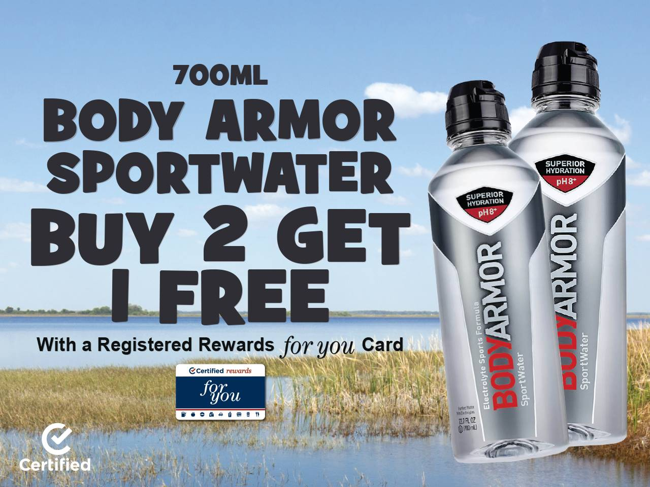 700mL Body Armor SportWater Buy 2, Get 1 Free with Registered Rewards For You Card