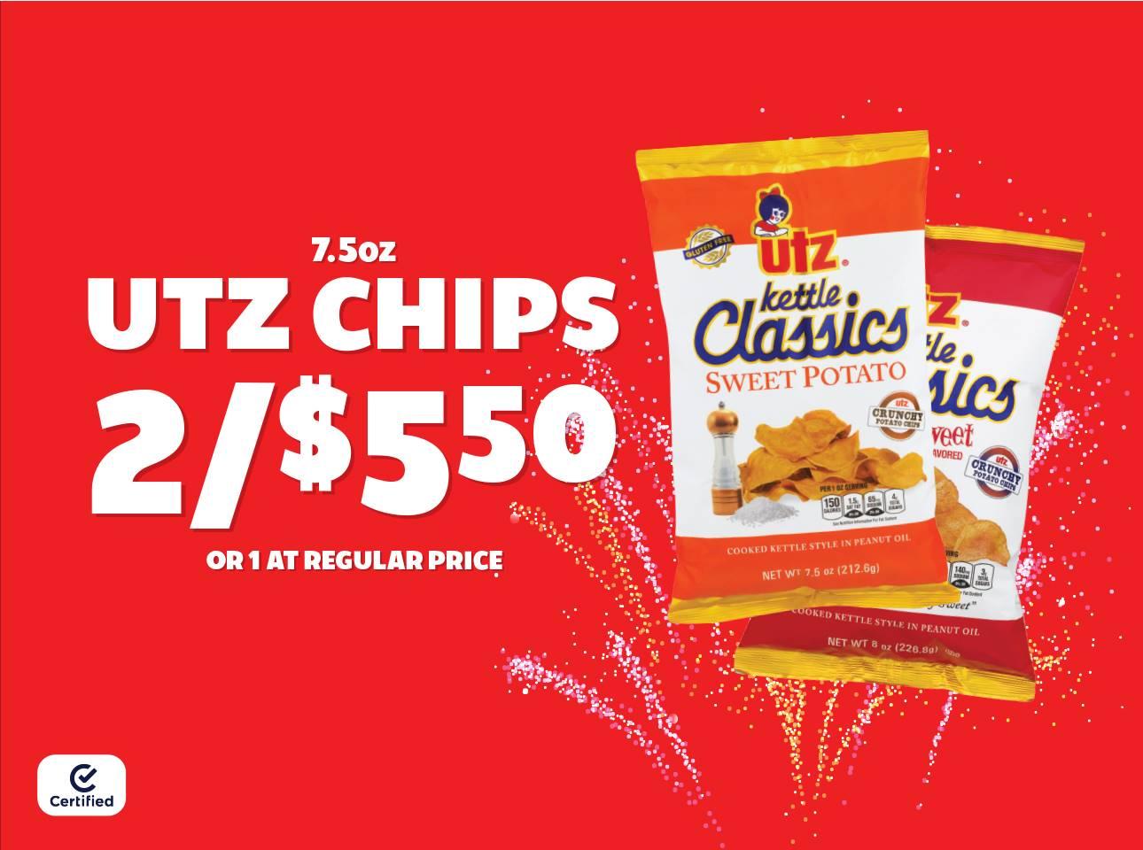 7.5oz Utz Chips 2 for $5.50 or 1 at Reg Price