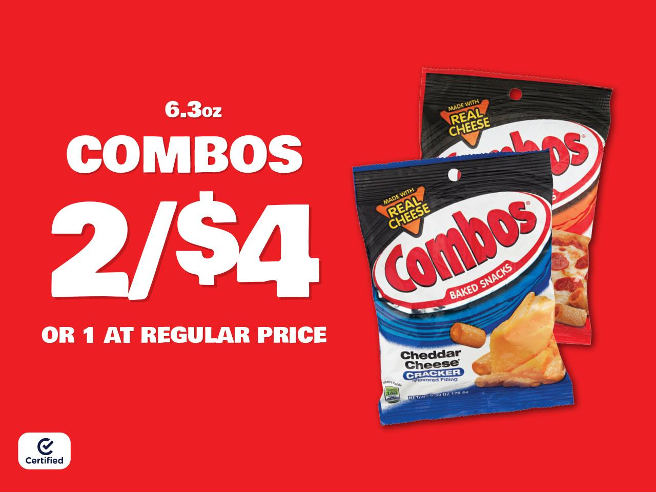 6.3oz Combos 2 for $4 or 1 at Reg Price