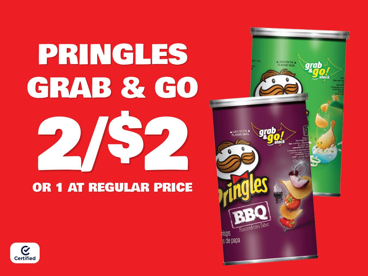 Pringles Grab & Go 2 for $2 or 1 at Reg Price