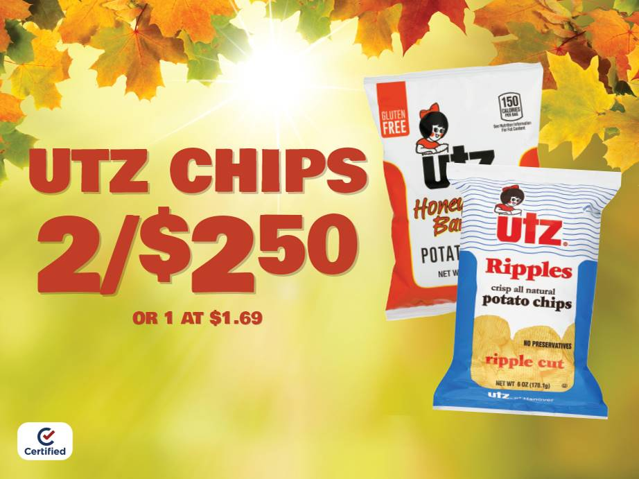 2.65oz Utz Chips 2 for $2.50 or 1 at $1.69