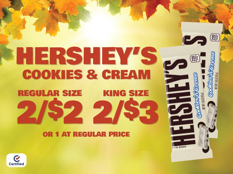 Hershey's Cookies & Creme 2 for $2 Reg Size or 2 for $3 King Size