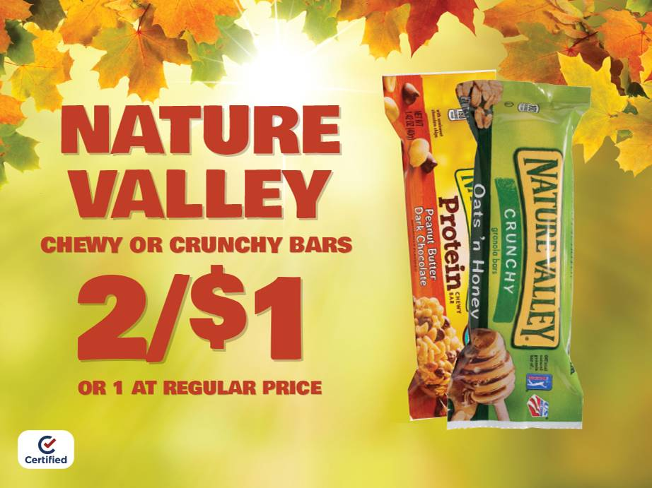 Nature Valliy Chewy or Crunchy Bars 2 for $1 or 1 at Reg Price