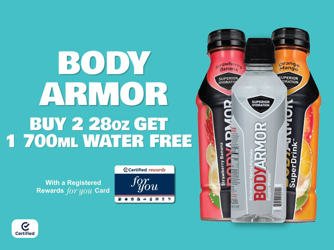 Boy Armor Buy 2 28oz, Get 1 700mL Water Free with Registered Rewards For You Card