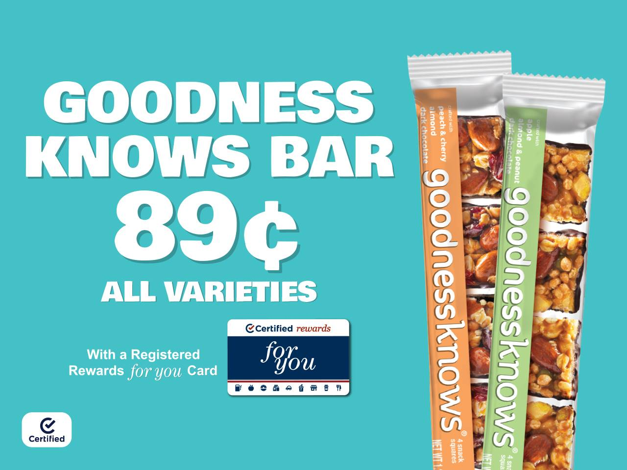 GoodnessKnows Bars for $.89 with Registered Rewards For You Cards