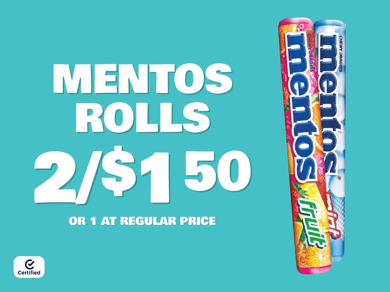Mentos Rolls 2 for $1.50 or 1 at Reg Price